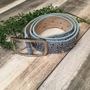 Leather belt blue studded